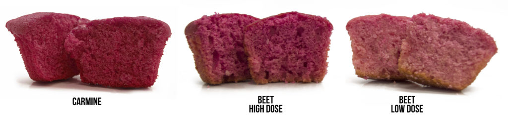 Carmine compared to beet in cupcakes